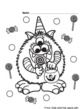 Print Out Halloween Candy Critter Coloring Page For