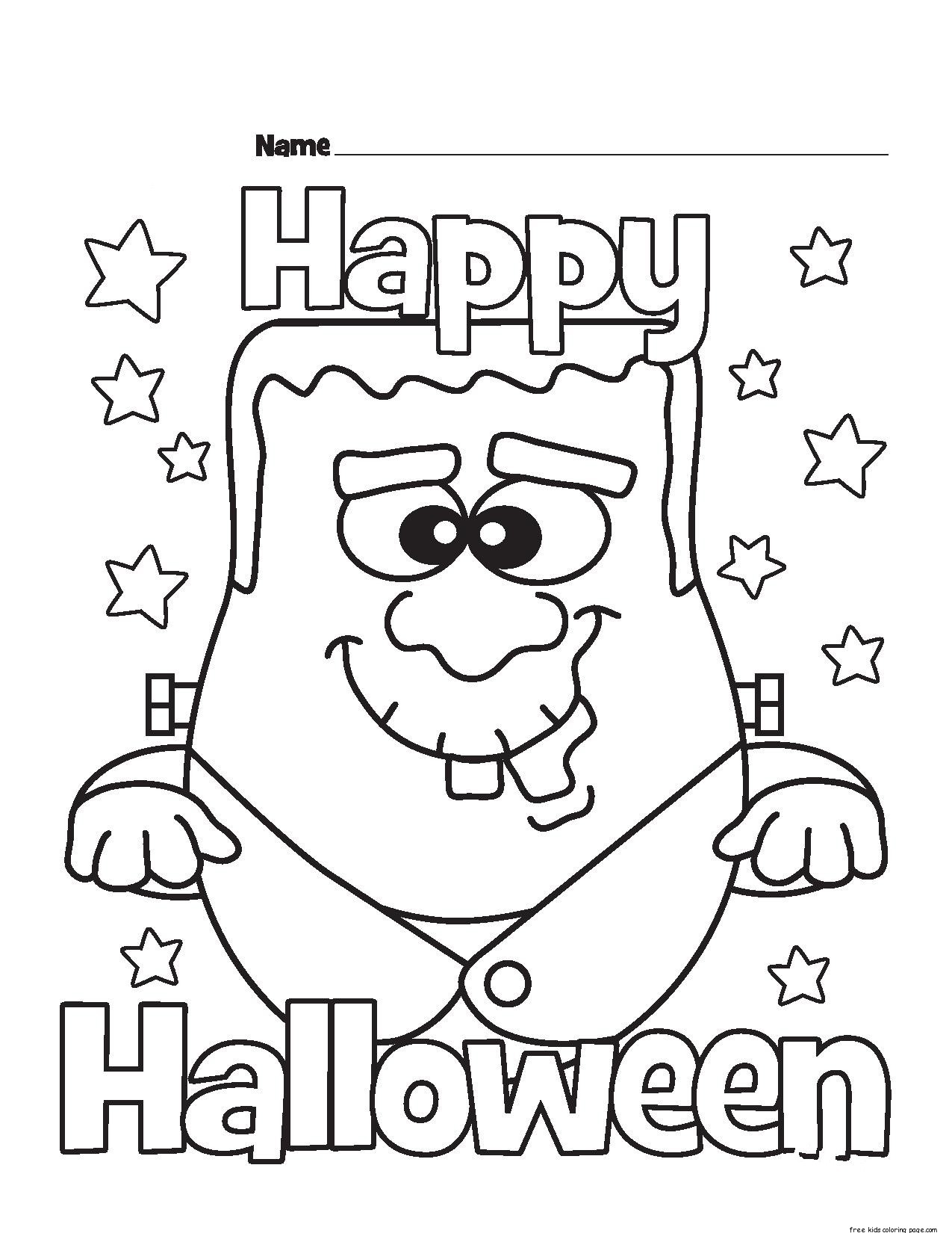Halloween Happy Monster Coloring Pages For Kidsfree Printable Coloring Pages For Kids