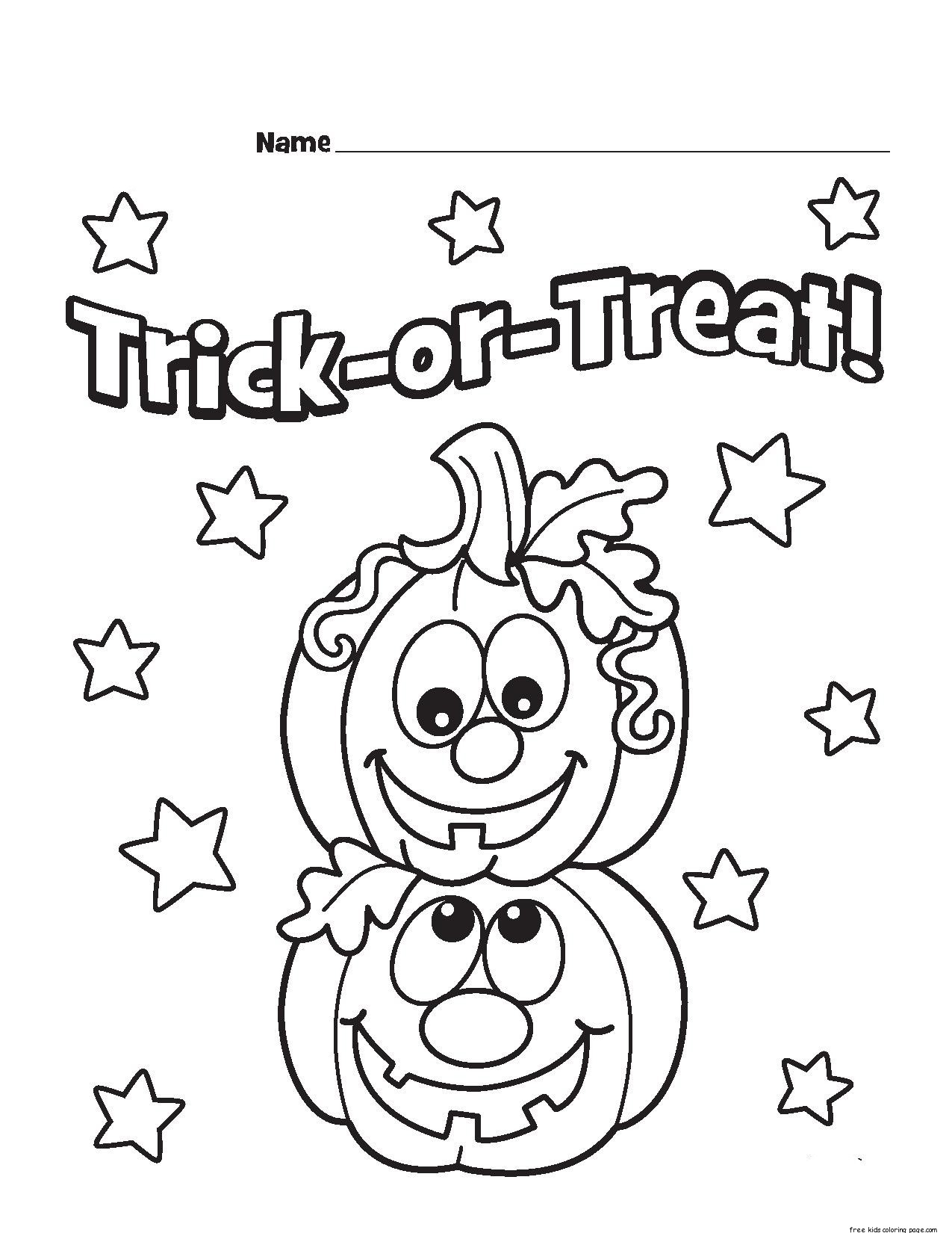 Printable Trick Or Treat Pumpkins Designs Coloring