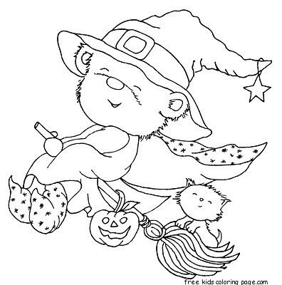 Print Out Halloween Teddy Bear Dressed Witch Coloring
