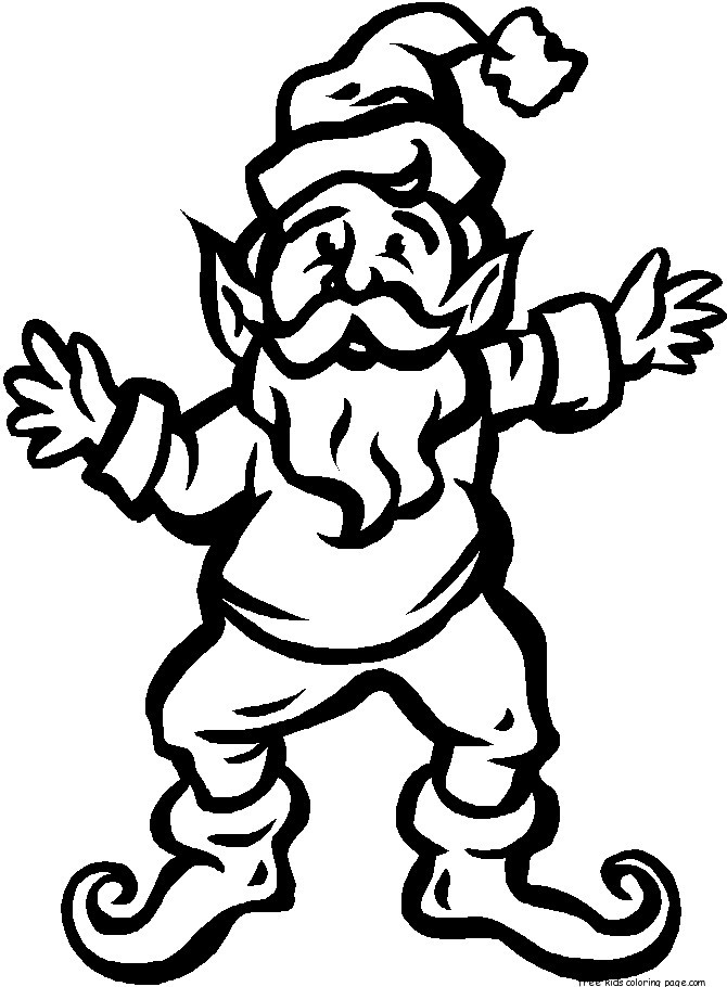 Christmas Elves Father Is Dancing Coloring Pages For