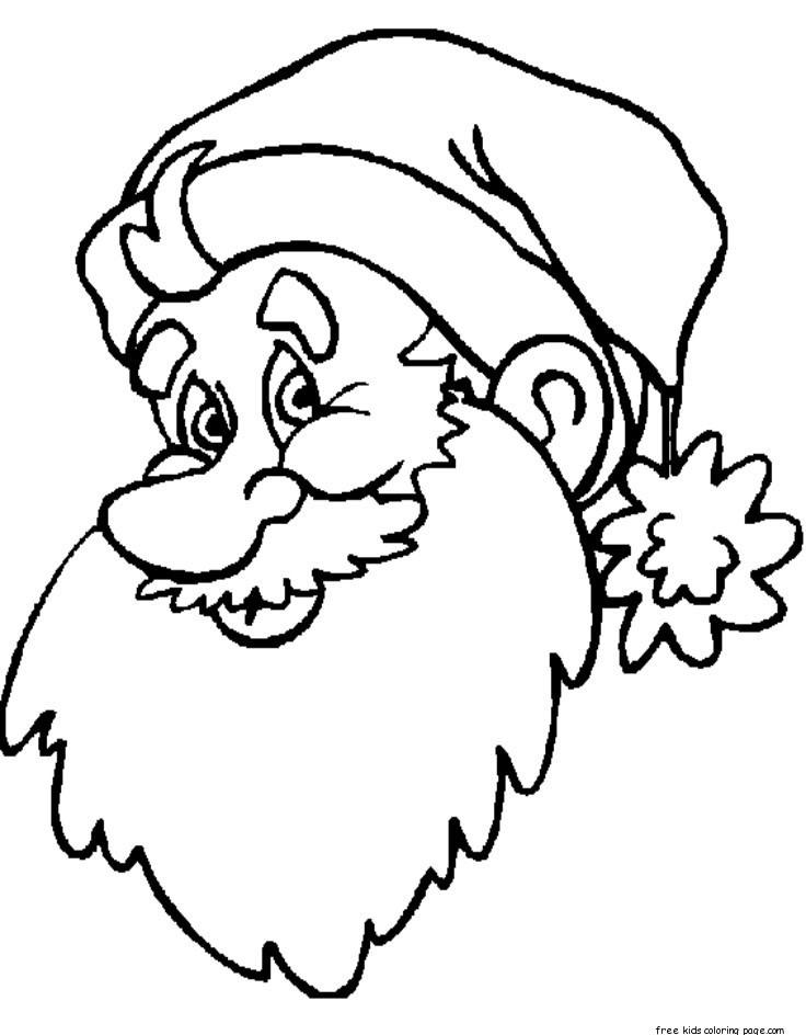 print out big santa face coloring sheet for kidsfree
