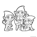 Picture to color christmas elf print out for kids.