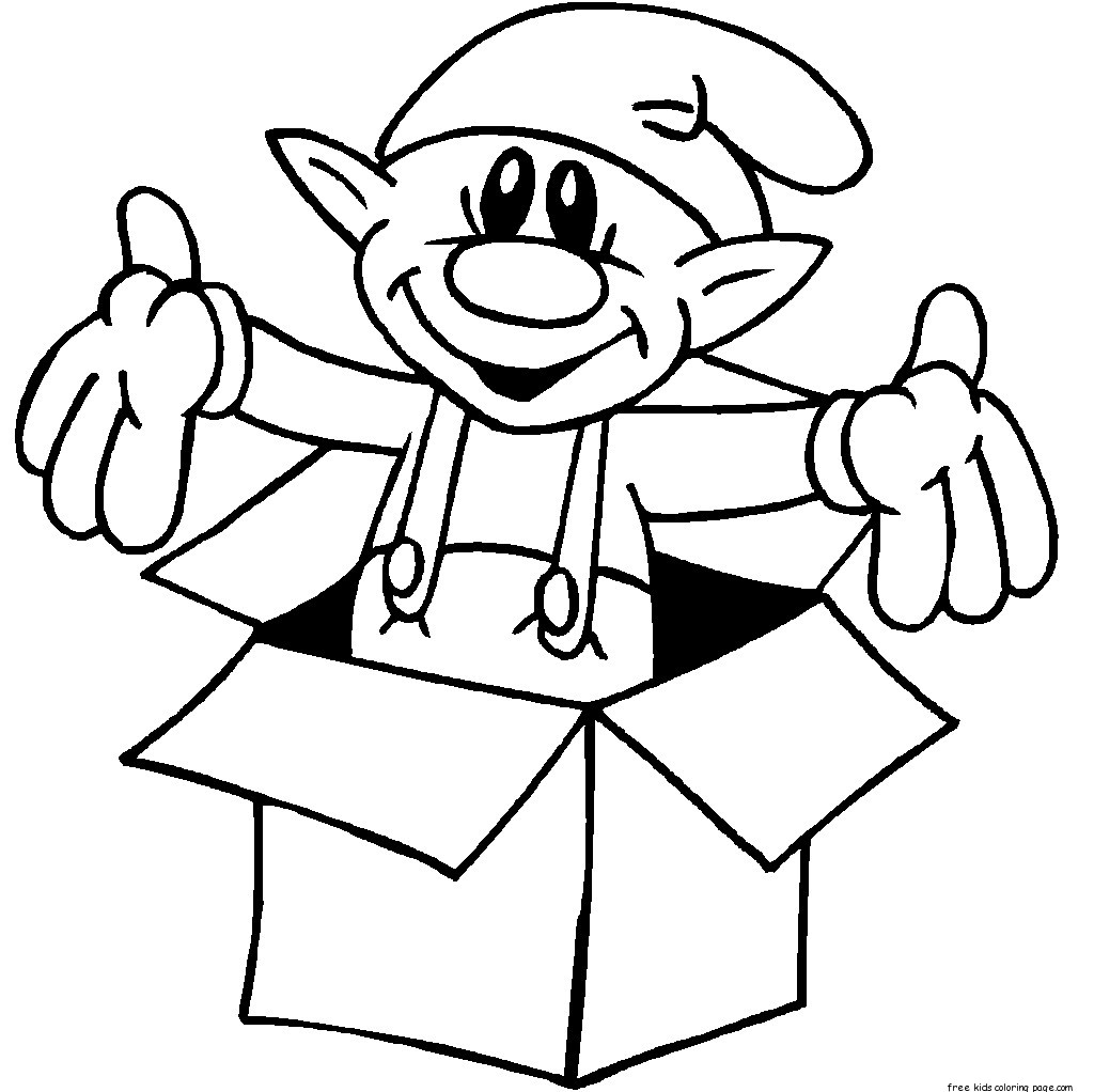 Print Out Christmas Elf In A Box Coloring Pages For