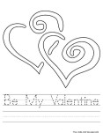 Printable Be My Valentine worksheet coloring page