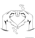 Printable Hands Forming Heart Valentine Day Coloring Pages