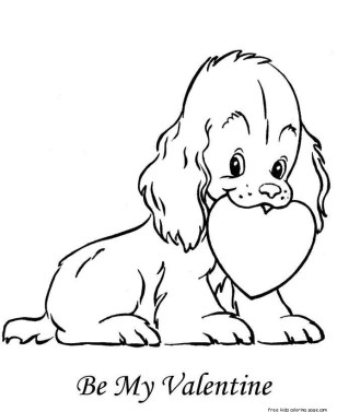 cute valentine dog coloring pages to print out for kids.