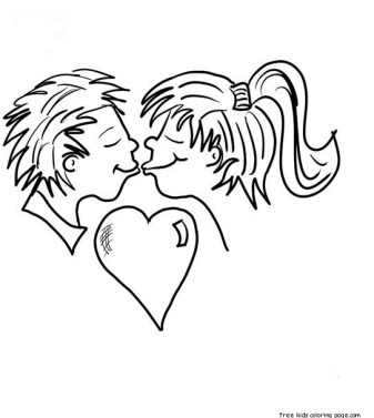 Printable Valentine Kisses Coloring Page