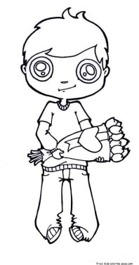 Printable valentines Boy with flowers coloring page