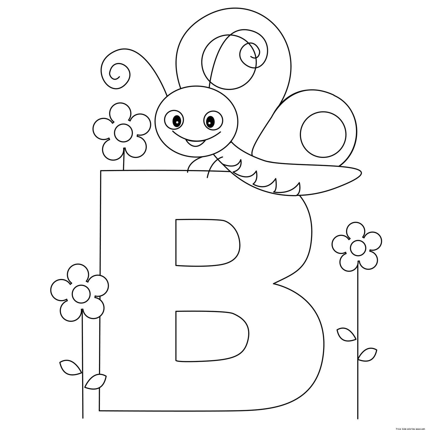 Printable Animal Alphabet Letter B Butterflyfree Printable