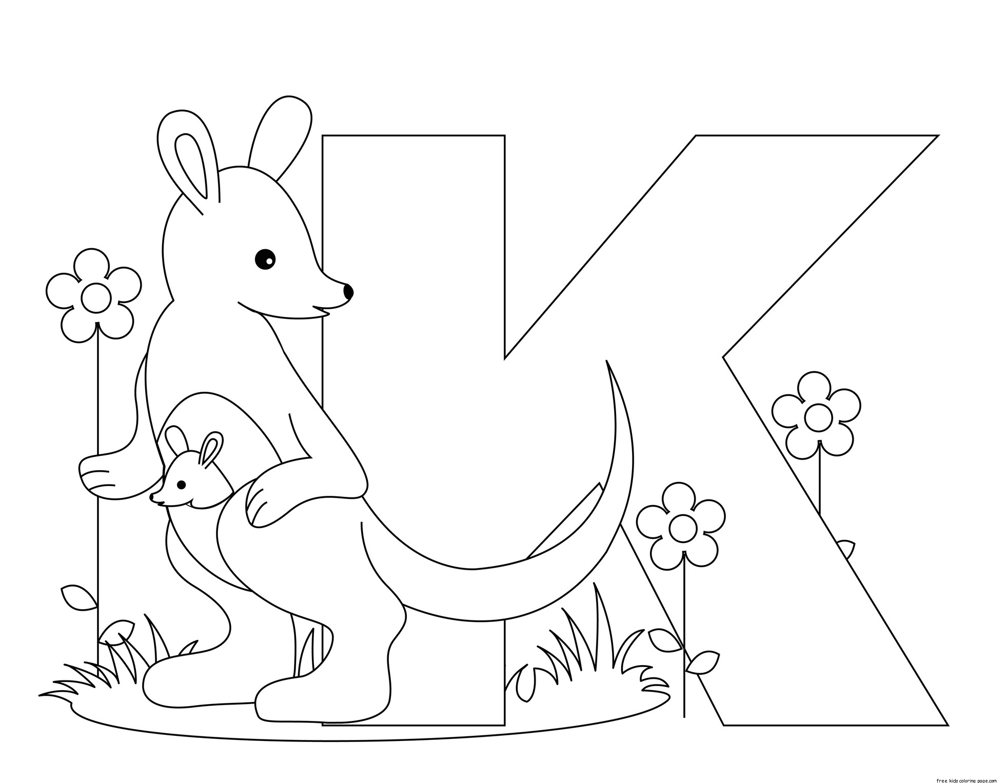 Printable Animal Alphabet Letter K For Kangaroo
