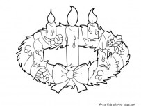 Advent wreath candles coloring page for kids to prinable
