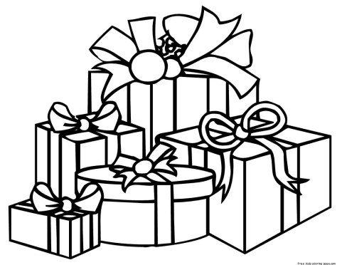 Coloring sheet christmas presents print out for kids