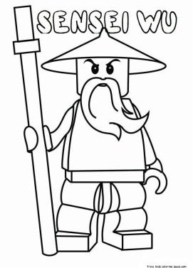 Printable lego Ninjago sensei wu coloring pages for kids
