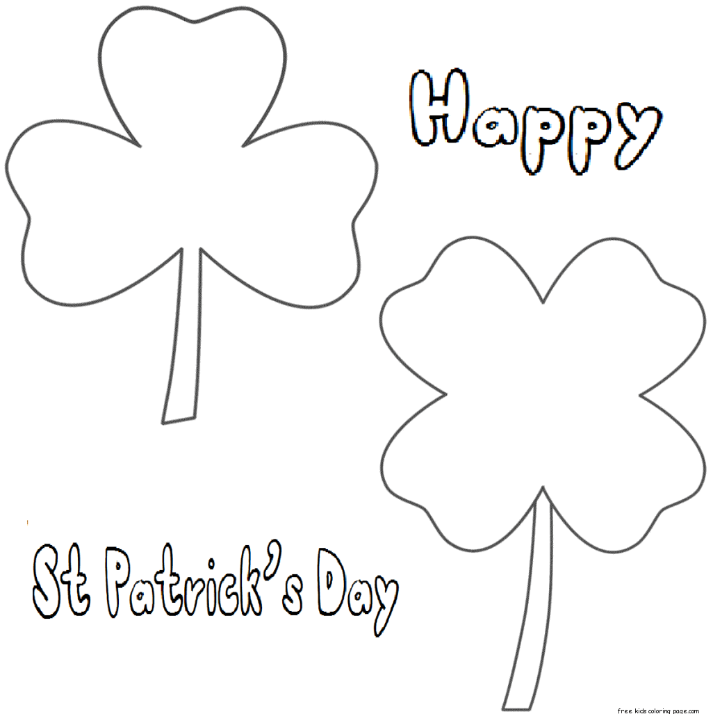 Printable Three Leaf Clover Coloring Page For Kidsfree