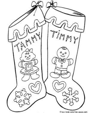 Gingerbread stocking coloring pages