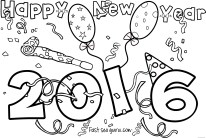 Printable happy new year 2016 coloring pages for kids