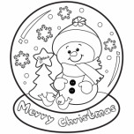 christmas snow globe whit snowman coloring pages free printable