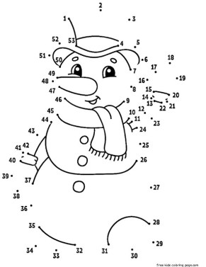 snowman dot to dot coloring pages
