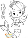 cute coloring sheets mermaid for girls printable