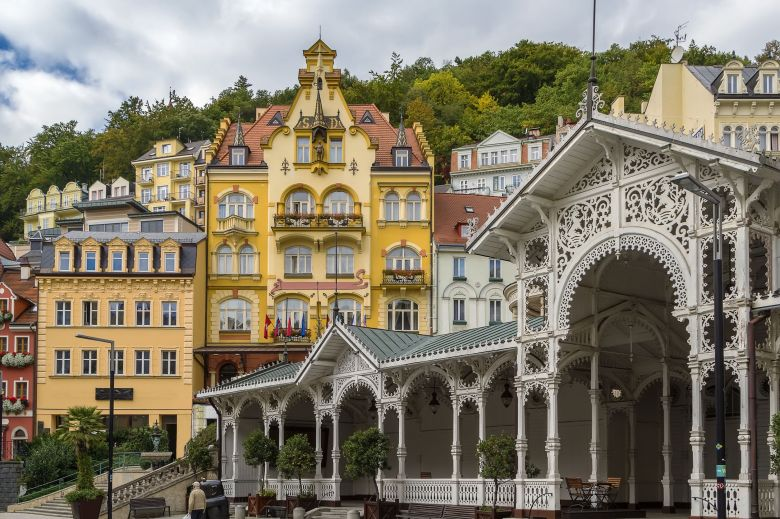 50258101 - city centre of karlovy vary with market colonnade,czech republic