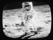 A television screen grab from a CBS News Special Report: shows an Apollo 11 astronaut on the moon, July 1969. (Photo by CBS Photo Archive/Getty Images) Credit: CBS/Getty Images