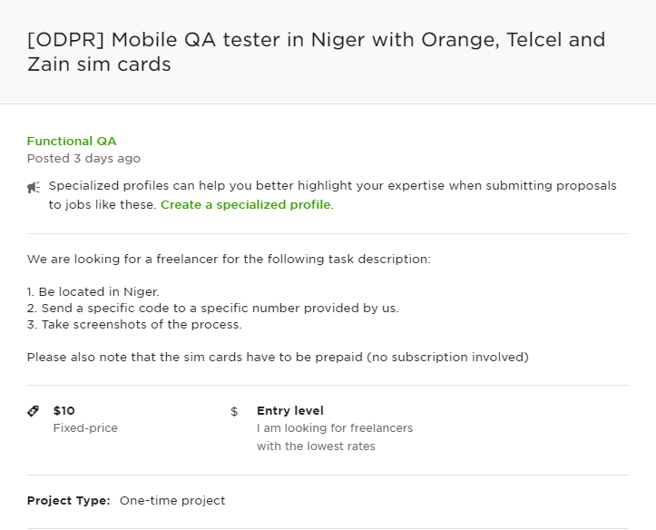Mobile Testing Job on Upwork