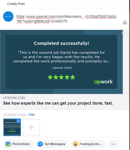 Upwork Feedback Image on Facebook