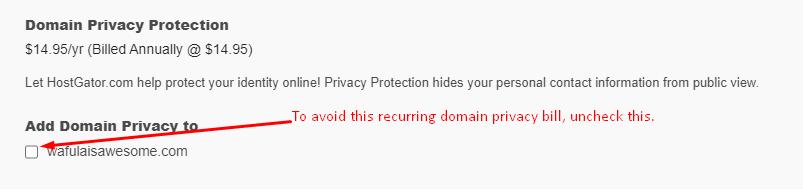 Uncheck domain privacy