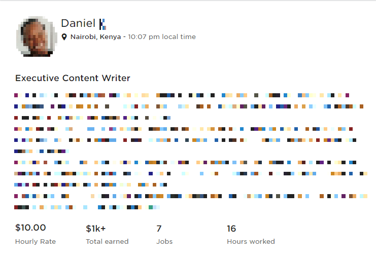 Daniel - an article writer in Upwork