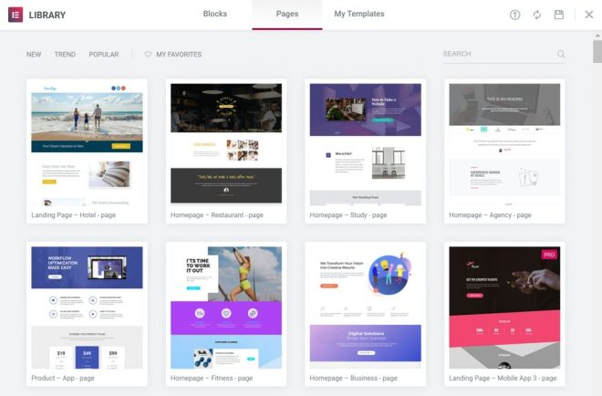 templates library inside Elementor WordPress plugin