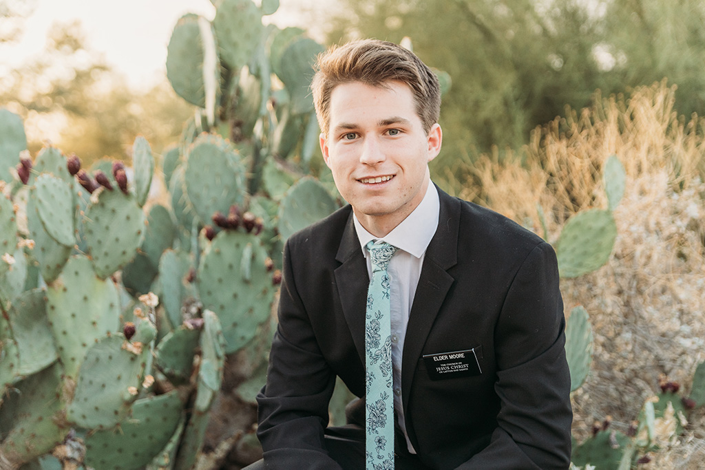 LDS missionary photoshoot in chandler az by desert cactus