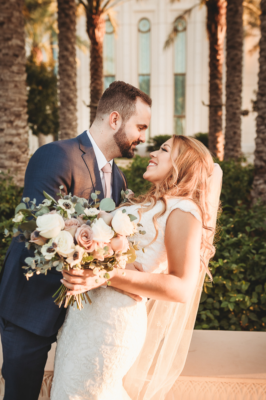 LDS wedding bride and groom photos at the Gilbert Temple
