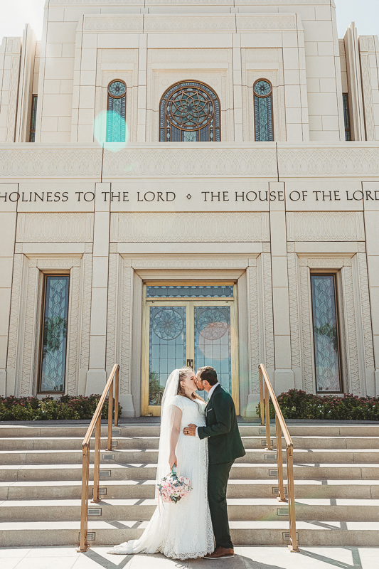 LDS wedding photos of bride and groom in front of the Gilbert Temple