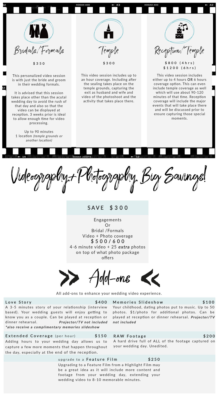 wedding and engagement videography pricing