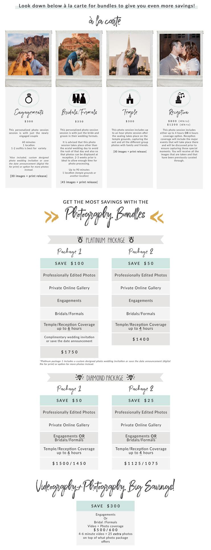 arizona wedding and engagement photographer pricing