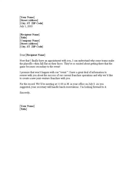 meeting confirmation letter template professional letters templates