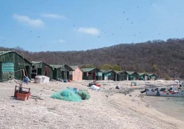 The fish camp ashore Isla Isabela