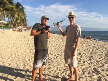 Playing with Ry's drone on a beach in Bucerias in 2017.