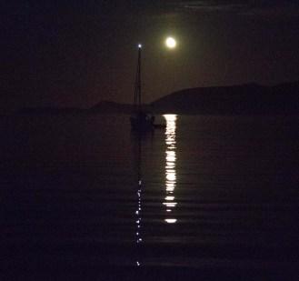 S/V Dazzler at moonrise over the Village