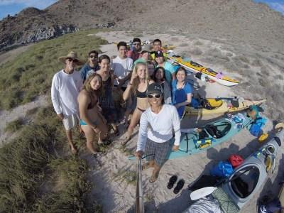 UCSD outdoor leadership kayak group in Don Juan following Tropical Stom Lidia