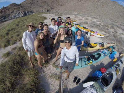 UCSD outdoor leadership kayak group in Don Juan following Tropical Stom Lidia