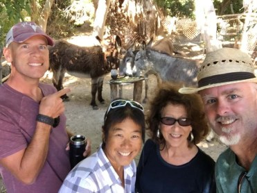 Ryan, Nan, and three burros in Todos Santos