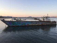 The grounded barge outside Guillermo's Restaurant