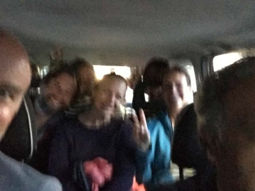 Hard to tell, but there are eight people jammed in this tiny little taxi - we were committed to sticking together
