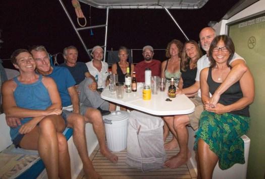 Fish dinner on FL with Isabel and Mark (JollyDogs), Dave (Striker), Jason (Volaré), Eileen (Striker), Jeff (Adventurer), Vicki (Volaré), Brenda (Adventurer)