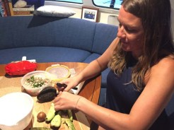 Brenda working her guacamole magic