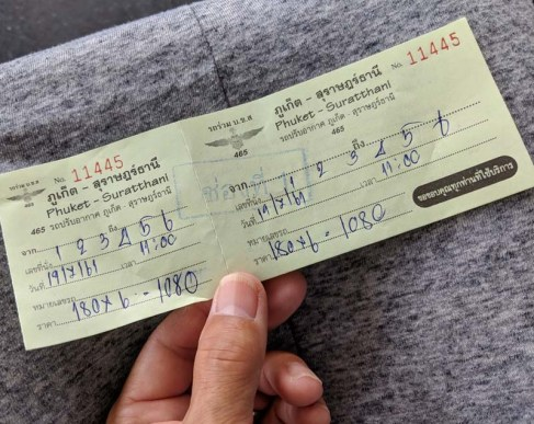 Bus ticket to Khao Sok National Park