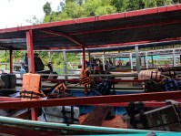 The gathering of longboats for an ecotour