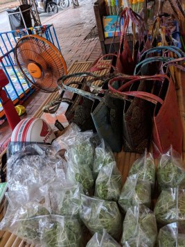 Veggies and handbags